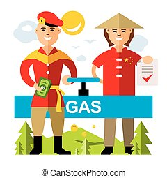 Vector Gas pipeline Russia - China. Flat style colorful...