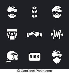 Vector Set of Immigration risk Icons. - Refugee, border,...