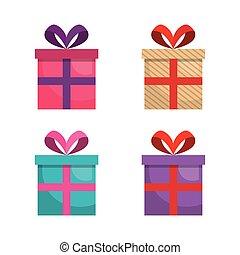 giftbox presents set icons