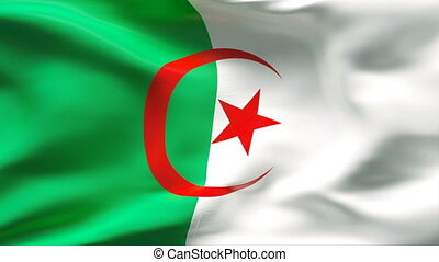 Creased ALGERIA flag in wind - Highly detailed flag with...