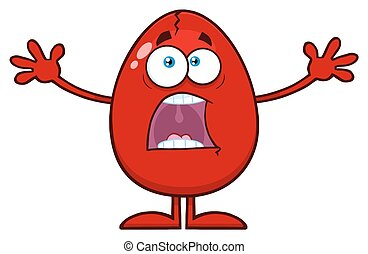 Scared Cracked Red Egg Cartoon Mascot Character With Open Arms