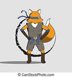 Fox ninja - Fox wearing ninja costume with nunchuck cartoon...
