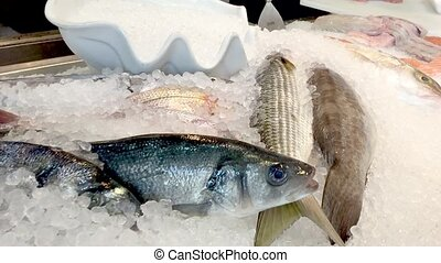 Frsh fish on ice at the market - fresh fish on ice at the...