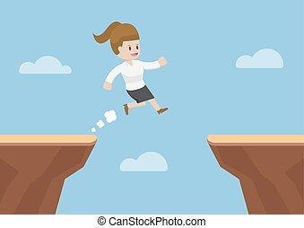 Businesswoman Jump Through the Gap Between Cliff, Business...