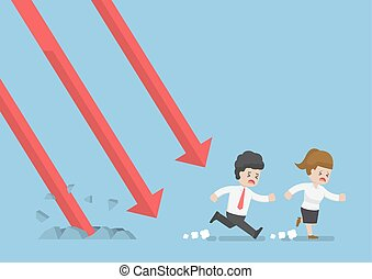 Businessman Run Away From Falling Graph - Businessman and...