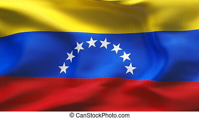 Creased VENEZUELA flag in wind - Highly detailed flag with...