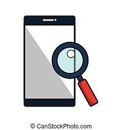 smartphone with magnifying glass