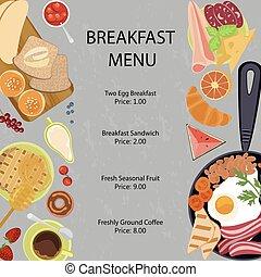 Breakfast menu flat design