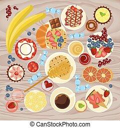 Sweet menu for cofee break, breakfast, lunch or dinner. Top...