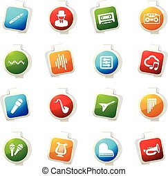 Music icons set - Music color icon for web sites and user...