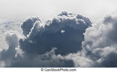 Big clouds in sky from above - cumulus and cumulonimbus