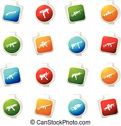 Set of hand weapons - Hand weapons color icon for web sites...