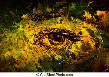 Drawing of woman eye on graphic background with structure...