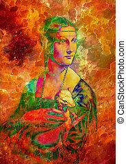 Graphic effect collage of my reproduction of painting Lady...