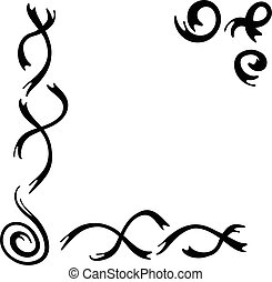 Collection of handdrawn borders made with brush and ink. Unique swirls and dividers for your design. Ink borders.