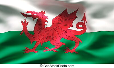 Creased WALES flag in wind - Highly detailed flag with...