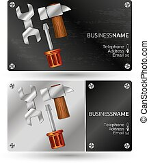 Business card for repair with a tool