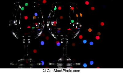 Wineglass and fast light background.