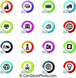 Alternative energy icons set - Alternative energy pointer on...