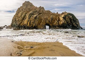 Rock at Pfeiffer Beach, California - Rock at Pfeiffer Beach,...