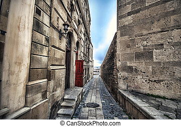 Empty street in old city of Baku, Azerbaijan. Old city Baku....