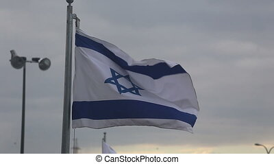 Flag of israel at sunset - Shot of Flag of israel at sunset