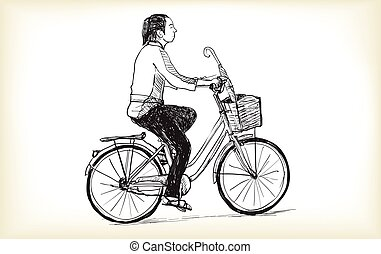 riding bicycle a woman, free hand drawing, vector and illustration