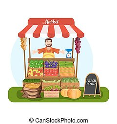 Market stall with salesman trading vegetables. Grocery...