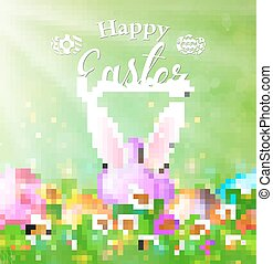 Happy Easter Card with Eggs, Grass, Flowers