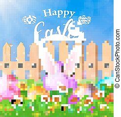 Easter eggs on a grass field with flower