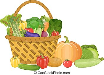 Basket with vegetables isolated on white. Fresh vegetable...