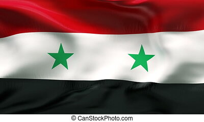 Creased SYRIA flag in wind - Highly detailed flag with...