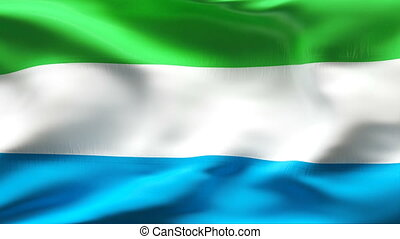 Creased SIERRA LEONE flag in wind - Highly detailed flag...