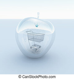 Apple - 3d render. Apple made of glass with cart inside.