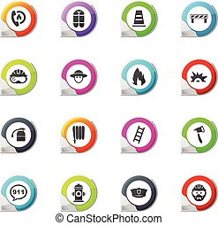 Fire brigade icons set - Fire brigade pointer on the color...