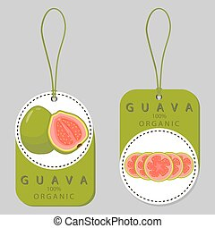fruit red guava - Vector illustration logo for whole ripe...