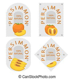 yellow fruit persimmon - Vector illustration logo for whole...