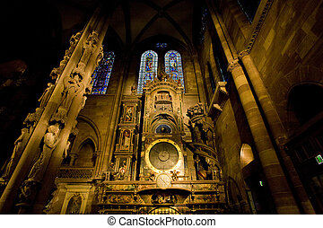 Strasbourg, Alsace, - astronomical clock in Cathedral Notre...