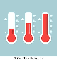 red thermometers with different levels