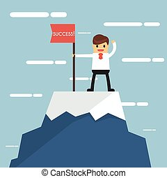 Businessman on a Mountain peak, success and mission. Flat...