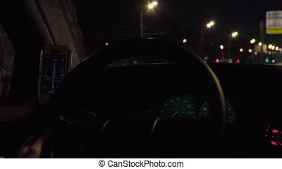 Dashboard and steering wheel in a moving car - Dashboard and...