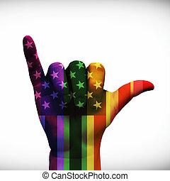 USA Hang Loose Rainbow