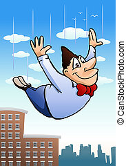 free fall business man - illustration of a cartoon free fall...