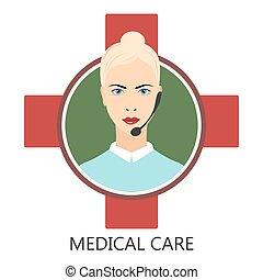 Medical user support . Medical service - vector illustration
