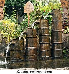 Landscape design, garden decorative waterfall