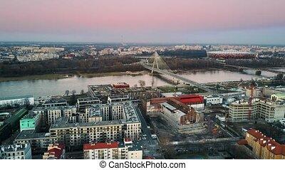 Aerial shot of Vistula river, Copernicus science center,...