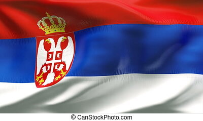 Creased SERBIA flag in wind