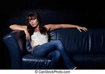 happy sensual girl on a couch