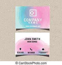 Business card with watercolour design - Business card...