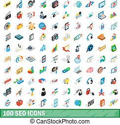 100 seo icons set, isometric 3d style - 100 seo icons set in...